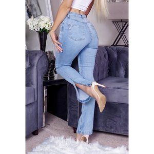 High Waist Side Split Hem Skinny Slim Flare Jeans